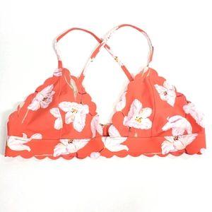 Bright Orange Swim Top Bralette With Floral Print